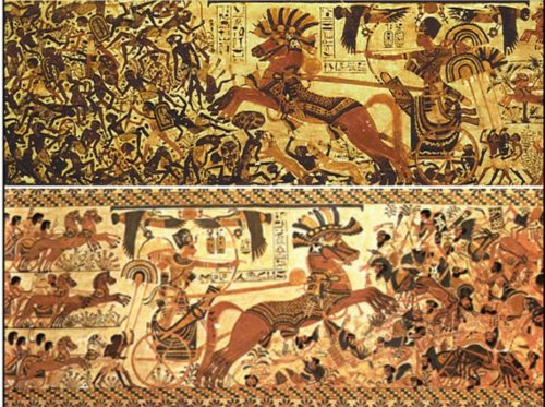 "Above: Close-ups of the sides of Tutankhamun's ""Hope Chest"" showing Semitic and black enemies being defeated. From The Children of Ra."