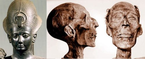 Above: A statue of Ramesses II, nineteenth dynasty (1292–1225 BC), and his mummy. From The Children of Ra.
