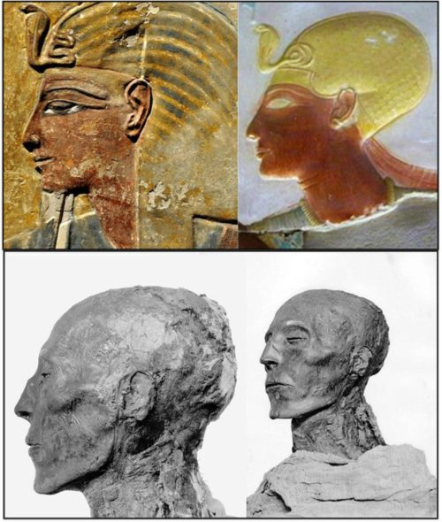 Above: Artwork depicting Pharaoh Seti I, made during his lifetime at the Temple at Abydos, circa 1320 BC, and his mummy. From The Children of Ra.