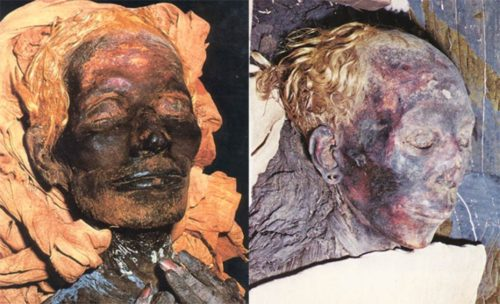 Above, left: Yuya, an Egyptian nobleman from 1400 BC. He was the father of Tiy, the wife of Pharaoh Amenhotep III. Yuya's blond hair has been well preserved by the embalming process. Alongside, his equally blonde-haired wife, Thuya, great grandmother of Tutankhamen. From The Children of Ra.