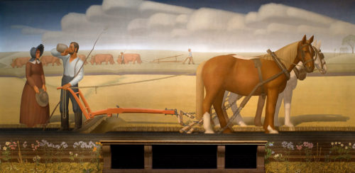 Breaking the Prairie Sod_ (mural) by Grant Wood